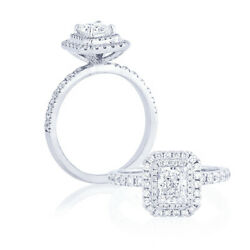 14k White Gold Halo Radiant 1.20 Ct Real Diamond Anniversary Ring Size 5 6 7 8 9