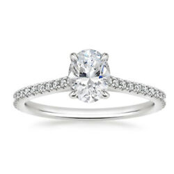 Oval Cut Real 0.84 Ct Diamond Engagement Ring 14k White Gold Size Selective