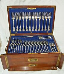 Antique Elkington Silver Plated Campaign Canteen Of Cutlery 1907 18 Settings