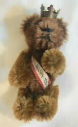 Mh-003 Shuco Berlin Miniature Teddy Bear Jointed Pin Brooch Antique With Crown