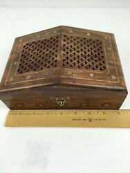 Vintage 3 Nesting Wood Trinket Jewelry Boxes Red Lined Carved Metal Inlay