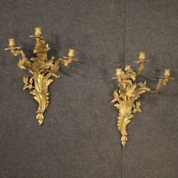 Pair Of Wall Lamps In Gold Bronze Antique Style Louis Xv 3 Lights Vintage 900