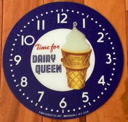 14-3/8 Dairy Queen Round Replacement Clock Face For Pam Clock Free Ship