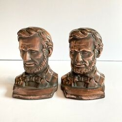 Vintage Abraham Lincoln Copper/cast Iron Heavy Duty Bookends