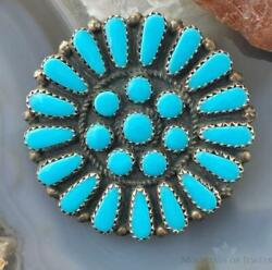 Native American Sterling Silver Turquoise Cluster Brooch/pendant For Women