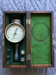 Vintage Schaeffer And Budenberg Brooklyn Ny Hand Tachometer In Wood Box W/ Tips