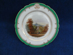 Paris Porcelain Cake Plate With A Topographical View Of St. Cloud In The Center