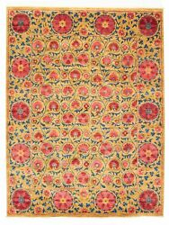 Modern Hand-knotted Carpet 9'2 X 12'7 Tan Wool Area Rug