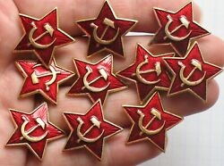 Russian Soviet Military 10 Red Star Badge Army Hats Cap Insignia Uniform Soldier