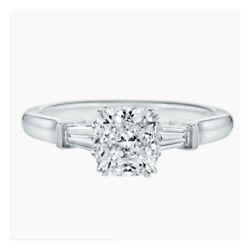 0.80 Ct Cushion Cut Real Diamond Wedding Ring Solid 14k White Gold Size 6 7 8 9