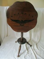 Antique American Style 3 Leg Stain Dark Pine Wood Folding Side Table W/ Eagle