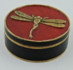 Asian Trinket/ring Box Vietnam Hand Made Onyx Or Soap Stone Dragonfly Lid