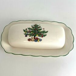 Nikko China Happy Holidays Butter Dish And Lid Christmas Tree Crafted In Japan