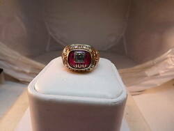 Vintage 10k Gold 1960and039s Abc 300 Game American Bowling Congress Ring W/ Diamond