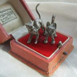 Two Vintage Antique Novelty Sterling Silver Miniature Cat Figurines Mascots