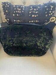 GLENDA GIES Brocade Embroidered Floral Fabric Hobo Leather Handle Pre Owned Big $19.00