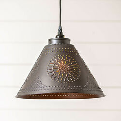 Barrington Punched Tin Swag Pendant 18and039 Cord Primitive Colonial Kitchen Lighting