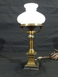Lovely Unique Small Antique Brass And Milk Glass Shade Desk Lamp
