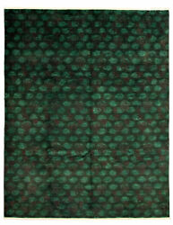 Modern Hand-knotted Carpet 9and0391 X 11and03910 Dark Green Wool Area Rug