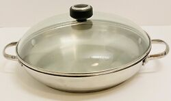 Wolfgang Puck 2 Handle 12 Paella Pan 18/10 Stainless Steel And Tempered Glass Lid
