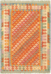 Vintage Hand Woven Carpet 3and0395 X 4and03910 Wool Kilim Area Rug