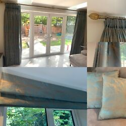 Bronze And Forest Green Handmade Curtains Lightly Used Cushions Pole Roman Blind