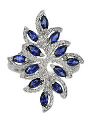 1.60ct Natural Round Diamond Sapphire 14k Solid White Gold Cocktail Ring