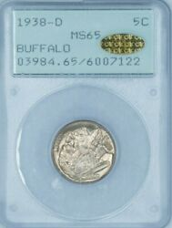 Spectacular Gold Cac Buffalo 1938-d Buffalo Nickel - Pcgs Ogh Ms 65 Gold Cac