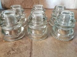 Lot 6 Hemingray- 45 And 42 Large Clear Glass Insulator Insulators Made In Usa