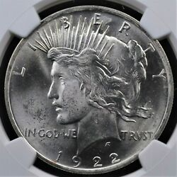 1922 Peace Dollar Ngc Ms 64 Super Smooth White Satin Over Fully Struck Surfaces