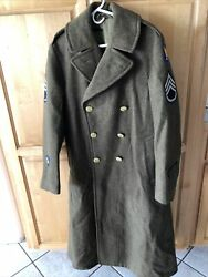 Vintage 1943 Wwii Us Army Officer's Heavy Wool Trench Coat With Patches