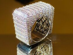 Menand039s Iced Baguette Square Big Pinky Ring White Gold Finish Icy Pinkie Size 6-10