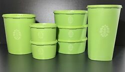 Tupperware Canister Set Green 7 Pieces Excellent