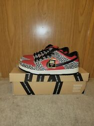 Supremes X Nike Sb Dunk Low Red Cement Sz 9 Vnds Used Ss12 2012