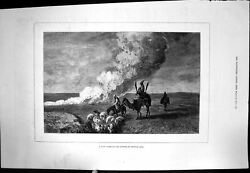 Old Antique Print Dust Storm Steppes Central Asia Hores Camel Sheep 1878 19th