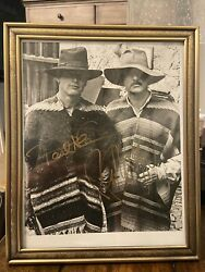 Vintage Paul Newman And Robert Redford Autographed 8x10 Framed Coa Butch Cassidy