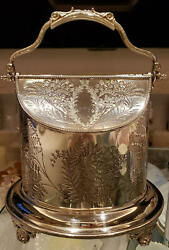 Silver Plate B Biscuit Barrel Cookie Jar Antique Sterling Silver Wwh And Co F/s Jp
