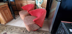 Pair Of Mid Century Modern Swivel Lounge Chairs By Michael Wolk For Directional