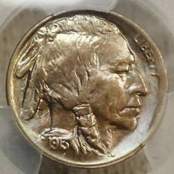 1913-s Type One Buffalo Nickel Gem Uncirculated Pcgs Ms-65 Great Color