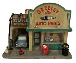 Lemax 05028 Greeley And Sons Auto Parts Building Christmas Village Decor Retired