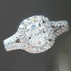 Solid 950 Platinum Cushion Cut 1.24 Ct Real Diamond Engagement Ring Size 6 7 8
