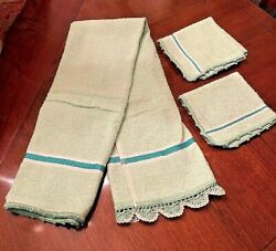 Vintage Bath Towel Green And White And 2 Washcloths With Crochet Edge Embellishment