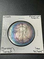 2009 1 American Silver Eagle 1oz Pure .999 Monster Toning Raw1883