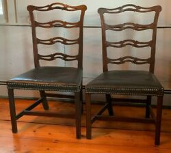 Rare Pair 18th C. New Hampshire Antique Chippendale Chairs By Robert Harold