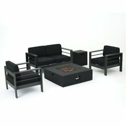 Noble House Cape Coral 5 Piece Outdoor Aluminum Conversation Set In Gray