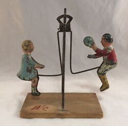 Antique Victorian Gibbs Tin Dime Toy Pendulem Action Boy And Girl Swing See Saw