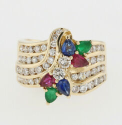 1.25ct Round Diamond Emerald Ruby Sapphire 14k Solid Yellow Gold Cocktail Ring