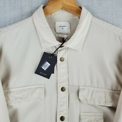 Nwt 248 Billy Reid Size Xl Brass Snap Front Oxford Cotton Pocketed Work Shirt