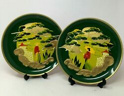 Pair Of 1940's Wwii Japanese Internment Camp Hand Painted Plates Art Militaria