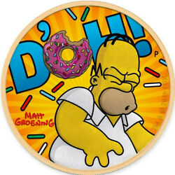Tuvalu 2019 - Homer Simpson - Yellow - D´oh - Silver Coin 1 Oz - 250 Pcs.